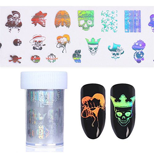Skull Holographic Starry Nail Foil Halloween Manicure Nail Art Transfer Sticker 2 Patterns (Halloween Special-effects-ideen)