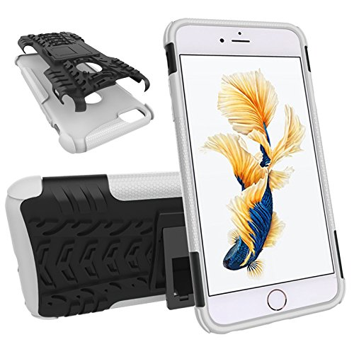 Nadakin Apple iphone 6 Plus / 6S Plus 5.5 inch Hülle Schutzhülle Hybrid Rugged Phone Case Stoßfest Handys Schutz Cover mit eingebautem Kickstand Shockproof für Apple iphone 6 Plus / 6S Plus 5.5 inch ( Weiß