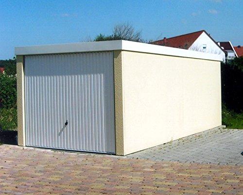 Fertiggarage Hochraumgarage, ca. 3 x 9 m,mit Hörmann Schwingtor und weißer Innenbeschichtung