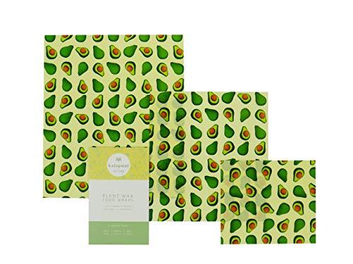 Vegane Wachstücher/Wachspapier für Lebensmittel-Kein Bienenwachs-3er Set-Wiederverwendbare Frischhaltefolie-Bio Baumwolle-Umweltfreundlich-Statt Alufolie-Avocadodruck