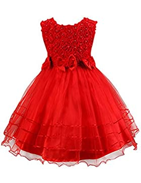 SMITHROAD Baby Mädchen Kleid mit Strass-Applikationen Blumenmädchenkleid Knielang Kinder Kleider Rosa