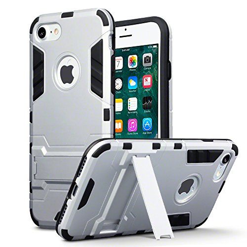 iPhone 8 / iPhone 7 Tasche, Terrapin Silikon + Polycarbonat Hülle mit Standfunktion für iPhone 8 Hülle Silber Silber