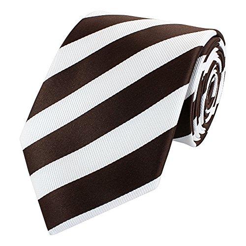 Fabio Farini Edle Krawatte, 8 cm in verschiedenen Farben, Weiß-Braun gestreift