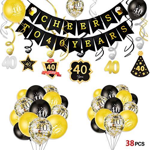 deko, Cheers zum 40. Geburtstag Banner und Deckenhänger Spiral Girlanden, 25 schwarz und Gold Luftballons Konfetti Ballons für Männer und Frauen 40. Geburtstags Party Dekoration ()