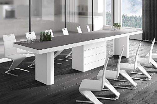 HU Design Konferenztisch HE-444 XXL ausziehbar in 8 Farben erhältlich 160 bis 412 cm (Anthrazit Matt/Weiß Hochglanz Kombination)