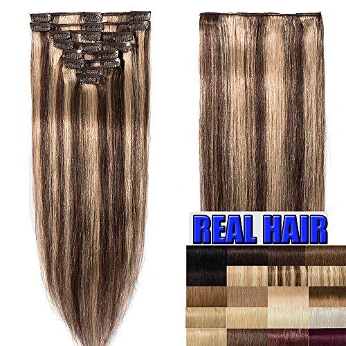 40cm extension capelli veri clip 8 fasce 18 clips 100% remy human hair testa intera #4/#27 marrone cioccolato + biondo scuro