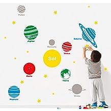 MYVINILO - Vinilo decorativo infantil - Solar system / rojo / amarillo / verd...