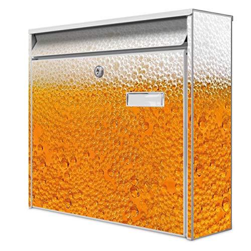 Burg Wächter Design Briefkasten | Postkasten 36 x 32 x 10cm groß | Stahl weiß verzinkt mit Namensschild | großer A4 Einwurf, 2 Schlüssel | Motiv Bier