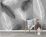 Weaeo Benutzerdefinierte Tapete Moderne Nordic Feder Dekorative Hintergrund Wand 3D Wohnzimmer Schlafzimmer Tv Sofa Wandbilder 3D Tapete-350X250Cm