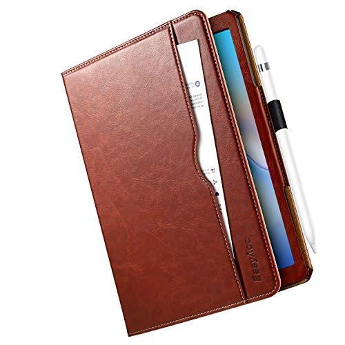 EasyAcc Hülle für Samsung Galaxy Tab A 10.5 T590/T595, 360 Grad Drehung mit Stifthalter, 100% PU Leder Langlebig ohne Plastikund, Multi-Winkel Standfunktion und Auto Wake/Sleep Smart Cover, Braun
