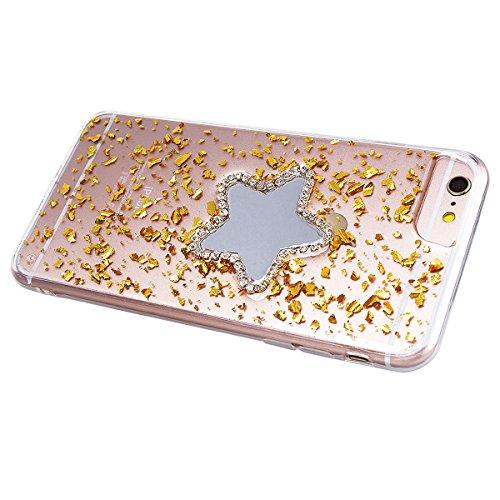 Custodia iPhone 6 Plus / iPhone 6S Plus, VemMore Case di Specchio Stella Morbido Trasparente Silicone TPU Cover con 3D Diamante Luccichio Strass Patterned Design Caso Backcase del Ultra Sottile Bling  Oro