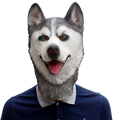 (XIAOLONGY Halloween Party Geburtstag Party Bar Perücken Tier Husky Latex Maske,Picturecolor)