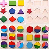 #6: ToddlersToys Wooden Geometry Matching Puzzles Stacking Building Blocks Early Educational Toys (Set of 3 Boards)
