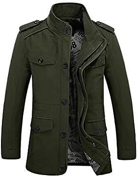 Chaqueta militar de manga larga, hecha de algodón, ligera, con capucha y cremallera, ajuste ceñido, multibolsillos...