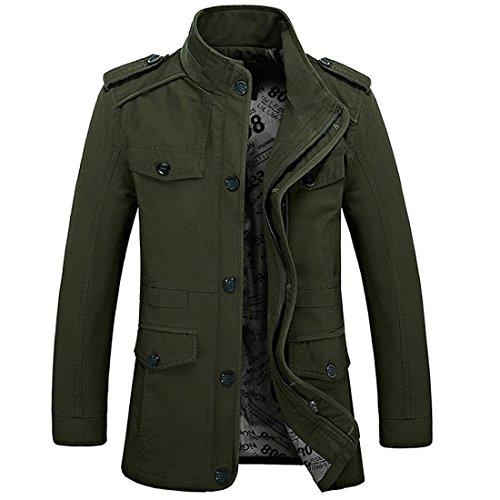 Chaqueta militar de manga larga, hecha de algodón, ligera, con capucha y cremallera, ajuste ceñido, multibolsillos, tipo gabardina, blazer; de Hdh Verde Ejercito Verde UK Large(Etiqueta 2X-Large)