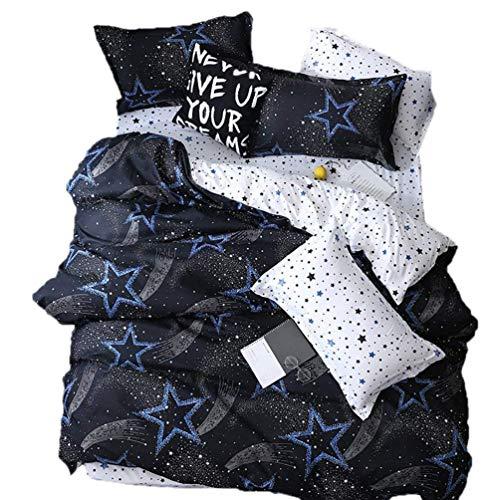 Bettbezug Set für Mädchen, 3Stück Helligkeit Quilt Cover mit Reißverschluss Bettwäsche-Set (Twin , Queen, King) Hellblau Twin Fx
