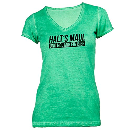 ... Festival Fun Party Grün. Damen T-Shirt V-Ausschnitt - Halt's Maul und hol  mir ein Bier -