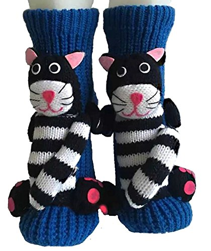 PreSox Anti-Rutsch-Strickpullover Warm Haushalt Socken für Frauen (blue strip cat)