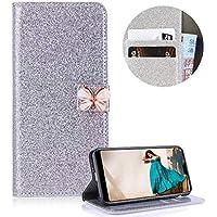 Silber Strass Brieftasche für Huawei P20 Lite,PU Leder Handyhülle für Huawei P20 Lite,Moiky Luxus 3D Schmetterling Magnetisch Diamant Folio Kunstleder Stand Schutzhülle