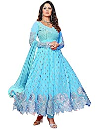 SweetiePie Fashion Faux Georgette Semi Stitched Dress Material ( Pink, Black, Sky Blue, Georgette)