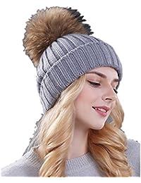 Ducomi® Cortina - Cappello Donna Invernale in Maglia di Lana con Pom Pom  Rimovibile in bd4fc9d6cec9