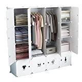 Koossy Erweiterbares Regalsystem stabiles Steckregal Kleiderschrank für Kinderzimmer Wohnzimmer und