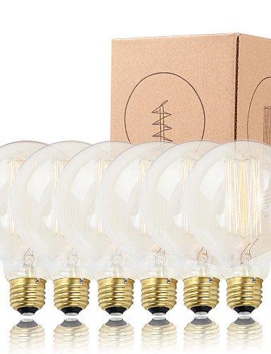6 pcs Edison die Glühbirne Vertikale filament Vintage Glühbirne 40 W E26/E27 Dekorieren Lampe, 110V, E26/E27 #196