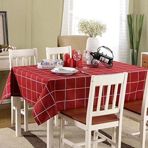 SunniMix Vintage Britische Stil Tischtuch Tischdecke Rot Karierten Dekor - 130 * 180cm (Rot Karierten Tischtuch)