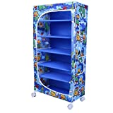 Little One's | 6 Shelves Foldable Wardrobe | Jungle Blue