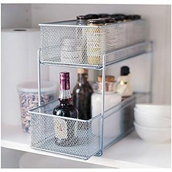 Nice Silver Wire Mesh Kitchen Cupboard Baskets