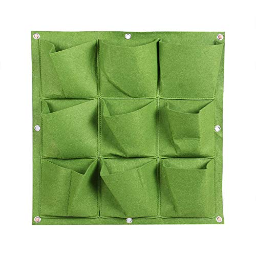 Outdoor Indoor 9 Pocket Vertical Gardening Hanging Wall Planting Bags Seedling Wall Planter Growing Bags Home Supplies