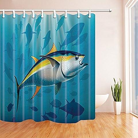 Ocean Decor Shower Curtains By KOTOM Cartoon Tuna In Deep Water With Fish School Clipart Print Bath Curtains, 69X70