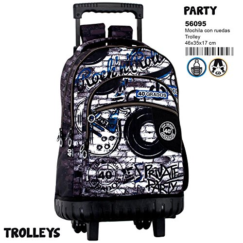 40 Grados Party - Mochila grande con carro fijo, trolley (Perona 56095)