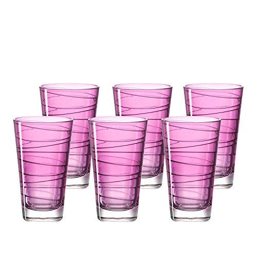 Leonardo Vario Struttura Becher groß Viola, 6-er Set, 280 ml, violettes Klarglas mit Colori-Hydroglasur, 018235 (Gläser Lila)