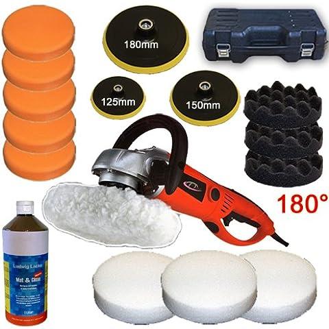 TecTake Máquina de pulir pulidora limpieza profesional de 1600 vatios + 1 litro de pasta abrasiva + Set