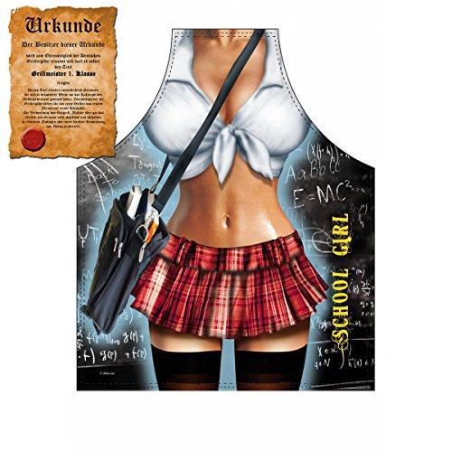Mega Sexy Küchenschürze Kochschürze Grillschürze mit Gratis Urkunde - School Girl - lustiger Scherzartikel Geschenkidee Geschenk (Girl Sexy Kostüme Ideen)