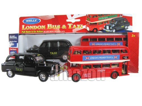 Londres Double Decker Bus Rouge et modèles Black Taxi (Pull Back & Go action) Mad …