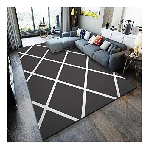 ch Einfach Schwarz und Weiß 3D Gedruckter Teppich mit hoher Dichte Geeignet für Familien Wohnzimmer Schlafzimmer, 80 cm (H) X 160 cm (W) ()