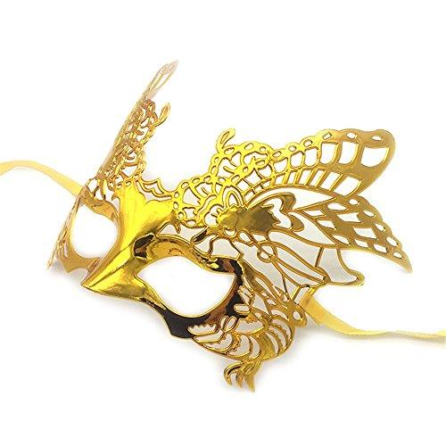 (Maskerade,COS Make-up Tanz Halloween Maske Adler Gold und Silber Party halb Gesicht Maske Männer und Frauen Gold Masquerade)