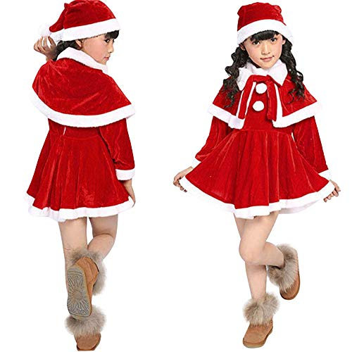 Iuhan Toddler Kids Baby Girls Boys Christmas Clothes Costume Party Lovely Dresses+Shawl+Hat Outfit (3-4 Years, Red)