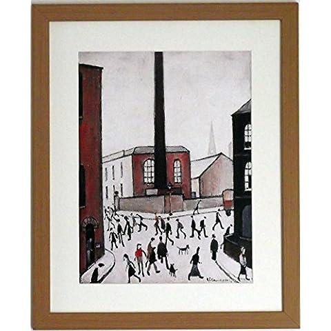 L S Lowry specialità Stampa/Picture–City Scene–su una struttura in lino, misura media, Light Oak Finish Frame With Soft White Mount And Large Image, 20 x 16inch