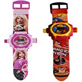 AQUARAS Barbie And Angry Bird Projector Watch For Kid's (Multicolour) - Pack Of 2