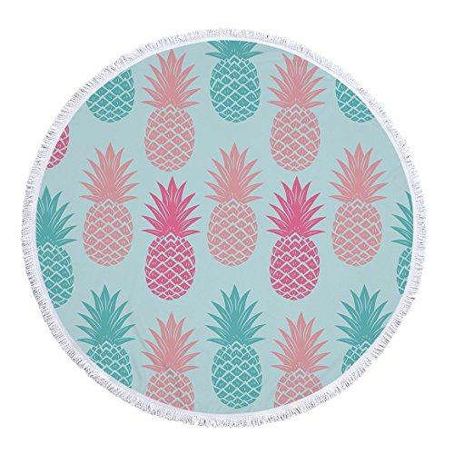 swall owuk Piña redondas playa toalla Mantel de picnic tapiz pared colgantes Toalla Yoga Matte Crema solar bufanda wrap Rock borlas, 150* 150cm