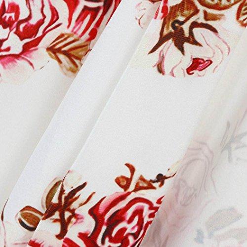 Clode® Femmes automne manches longues floral imprimé kimono blouse châle Tops blanc1