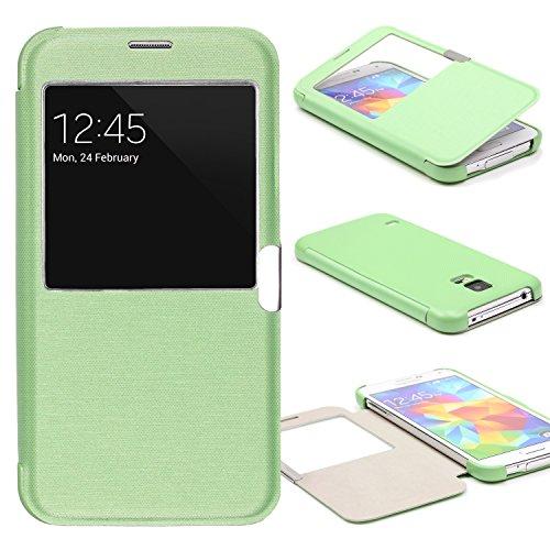 Urcover® View Case Handy Schutz-Hülle | Samsung Galaxy S5 Mini | Hart Kunststoff Grün | Elegant Wallet Cover Sicht-Fenster | leichte Schale dünne Tasche (Entsperrt Mini S5)