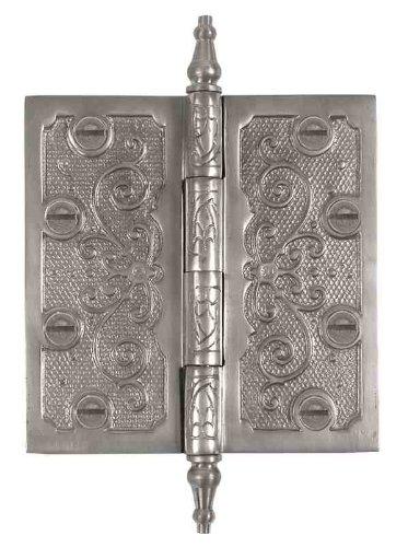 Messing Elegans lf002pwt massivem Messing Lafayette Design Deko Tür Scharnier mit Messing Schrauben, 4-Zoll-, Zinn-Finish - Lafayette Tür