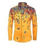 serliyMen Shirt Lässige Neuheit Musiknote Muster Lässige Long Sleeves Top Bluse, Herren Hemd Blumen Baumwoll Drucken Printed Funky Shirt