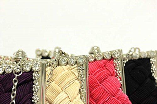 ERGEOB® Donna Clutch sacchetto di sera borsetta Clutch piccola rasotaschino Banchetto taschino matrimonio taschino sacchetto tessuto bianco