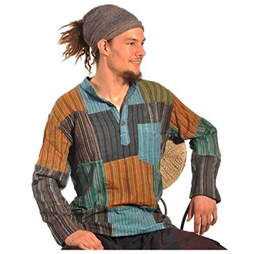 Patchwork Hemd Pullover Shirt Fischerhemd Freizeithemd Freizeitshirt Hippie Goa Psy Sweater Bash (XL)
