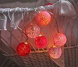 """'suggestiva Outdoor–Luce Catena """"Sisal–LED–Lights–lunghezza complessiva con cavo e spina 435cm–Ideale come illuminazione per mobili, armadi, Specchio, piante e per le pareti–piacevole illuminazione nel soggiorno, casa e giardino d' inverno–Mantiene Buon e heitere (Ma Non Grelle) colorato Indoor–Catena luminosa con 10LED a risparmio energetico–Lampade in una palla di sisal––Un OFFERTA da tavola di shop Pink"""